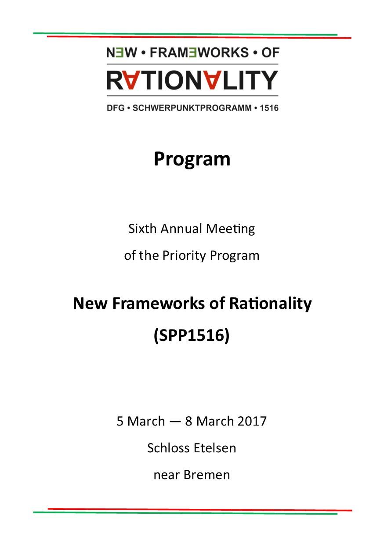 Programm für das diesjährige Treffen des SPP1516